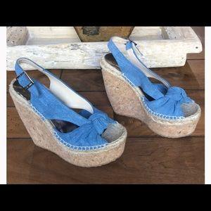 NWOT denim wedge shoes